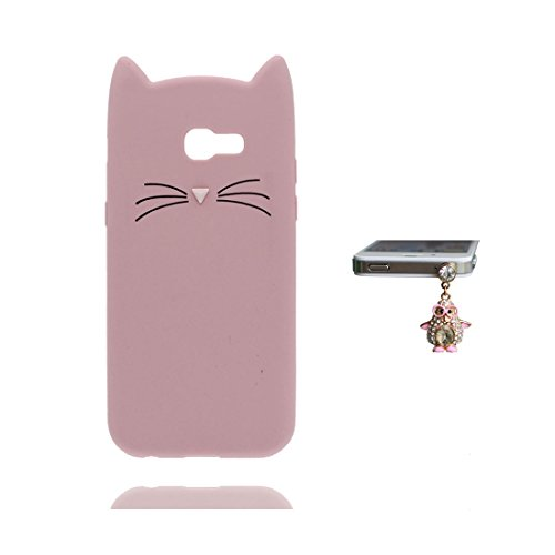 Samsung Galaxy A5 2017 Hülle, Stoßdämpfer mit Kameraschutz, handyhülle für Samsung Galaxy A5 2017 Case Soft Flexible TPU Gummi Anti-Kratzschutz + Staubstecker / Cartoon Entworfen 3D Katze rosa