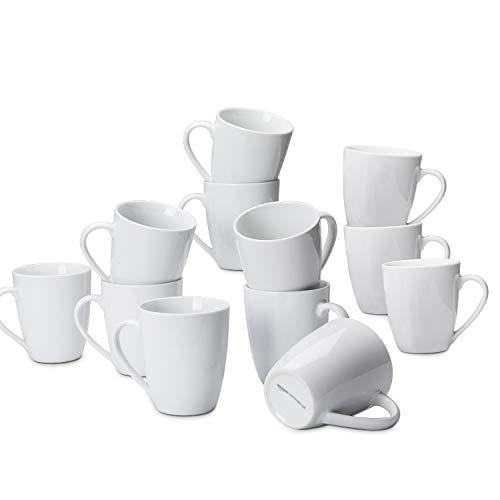 AmazonCommercial Kaffeetassen-Set, 12-teiliges Porzellan, 355 ml, Weiß
