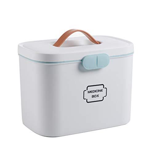 Ysoom Medizinbox 27 x 18 x 17 cm Plastik Erste Hilfe Box Aufbewahrungskasten Medizin Box mit Griff mit herausnehmbarem Ablagefach Arzneimittelbox Medikamentenbox Organizer (Grey)