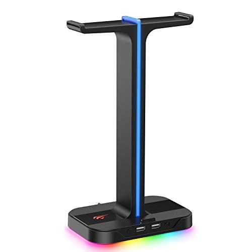 havit RGB Soporte de Cascos Gaming Dual con 2 Cargador USB,Soporte para Auriculares Gaming con 7 Modos de iluminación,para PC/Netbook/Gamer,Negr