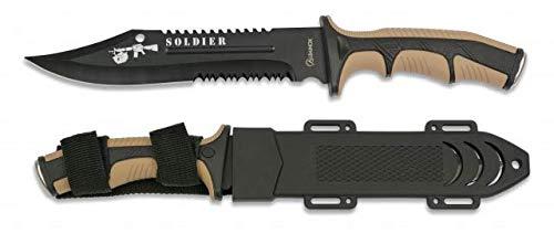 Cuchillo Soldier Coyote Hoja 19 cm para Caza, Pesca, Camping, Outdoor,