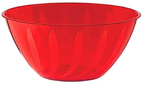 Amscan International- Bol en plastique, 438805-40, Rouge Pomme, grand