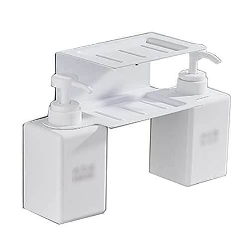 Dispensador de jabón de plástico multifuncional Dispensador de jabón de baño Casa de baño Casa de champú Con acondicionador Soporte de jabón Caja Loción Botella Blanco Blanco ( Color : White )