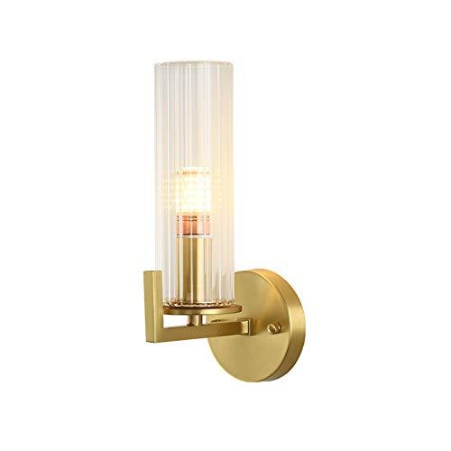 G9 Americano Pasillo Cobre Completo Lámpara De Pared,Postmodernista Ligero Lujo Salón Muro De Fondo Luz,Nórdico Simple Dormitorio Lámpara De Noche-Dorado. 22 * 30cm