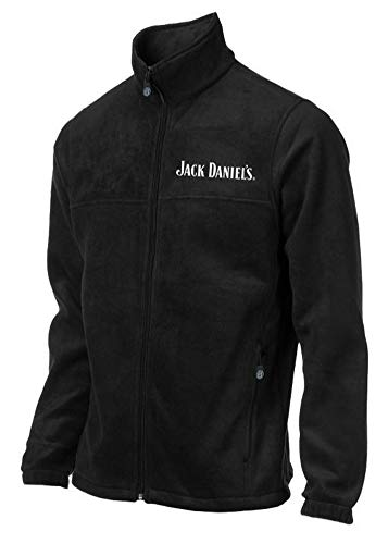 Jack Daniels Men's Fleece Jacket Coat Full Zip w/Logo Whiskey Liquor Black (XL)