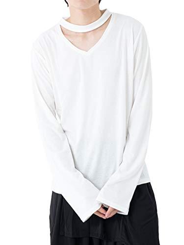 [アズスーパーソニック] カットソー チョーカー風トップス Vネック メンズ ホワイト F