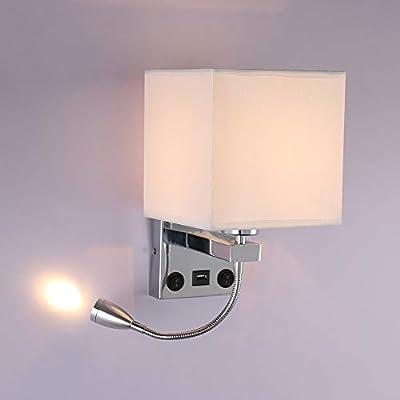 ✔ 【Diseño de Interruptores Dobles Inteligentes】: La luz de la lámpara de pared LED de lectura junto a la cama está diseñada con dos interruptores que pueden controlar la lámpara y la luz de lectura LED de cuello de cisne, una lámpara de lectura LED d...