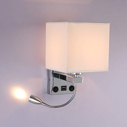 ALLOMN Luz de la Mesilla de Noche, Lámpara de Pared de Lectura LED Lámpara de Pared Moderna con Foco de Cuello de Cisne Ajustable, Interruptores Dobles, Con Puerto USB para Cargar E27 (Con USB, 1 PCS)