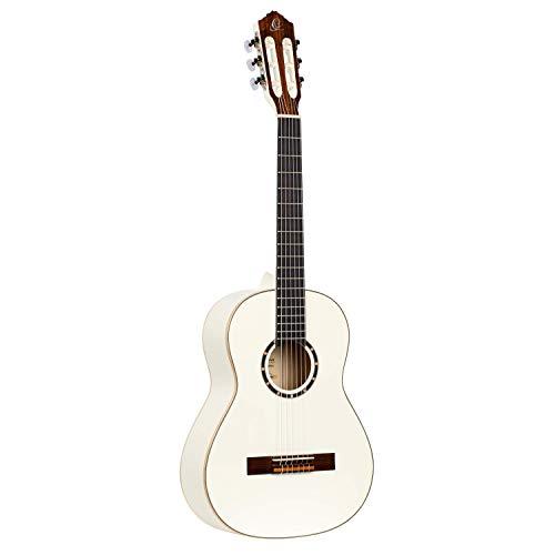 Ortega R121-3/4WH Guitare de concert avec housse Taille 3/4 Corps Acajou Table épicéa Blanc