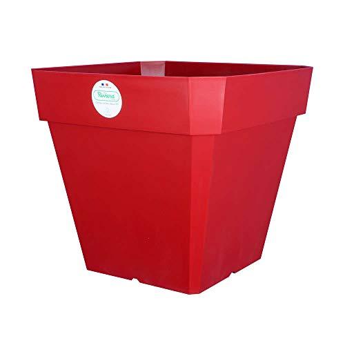 Riviera Pot et Soucoupe SOLEILLA Carré 40cm Rouge
