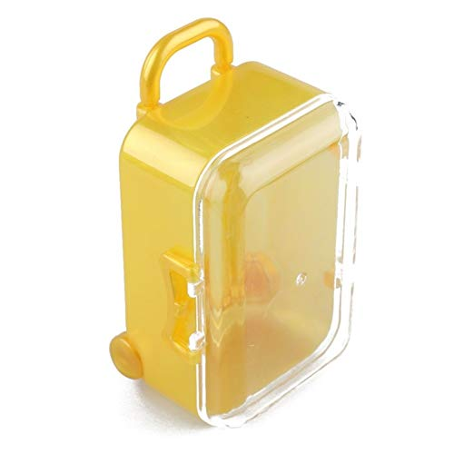 1Pc Mini Rolling Travel Suitcase Plastic Candy Boxes Wedding Gift Favor Box Baby Shower Birthday Party Decoration (Color : Yellow)