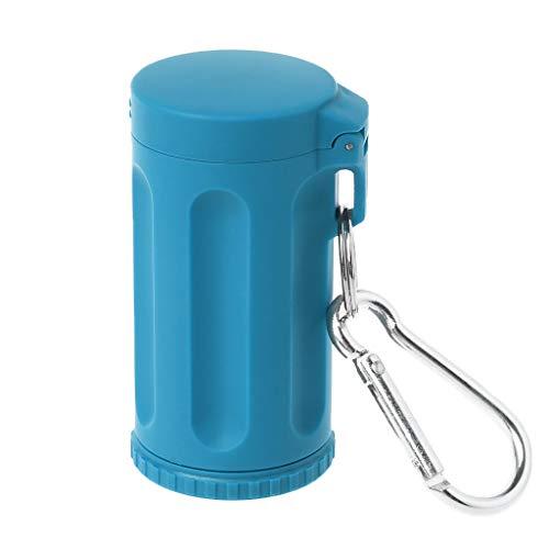 Xineker - Mini bolsillo con tapa para cenicero, cortavientos, llavero, accesorios para fumadores, para playa, al aire libre, senderismo, acampada, pesca y viajes azul