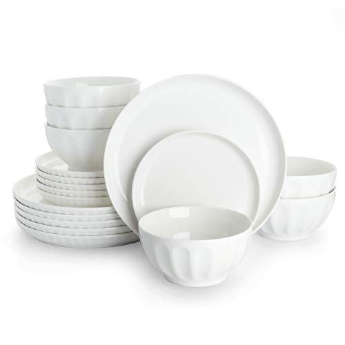 Sweese 196.001 Porcelain Fluted Dinnerware Set, 18-Piece, Service for 6, White