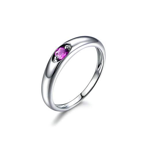 Bishilin Alianza de Plata Esterlina S925 Anillo de Mujer Clásico Moderno Forma Redonda Púrpura Oval Cristal Piedra Natal de Febrero Anillo de Eternidad Aniversario Boda Plata Talla: 16