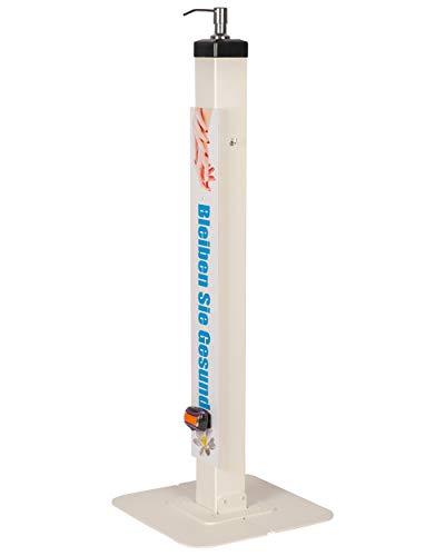 Design Desinfektionsmittel-Ständer Desinfektionsmittelspender Desinfektionsmittel-Station mit Standfuß ST33 (Weiß)
