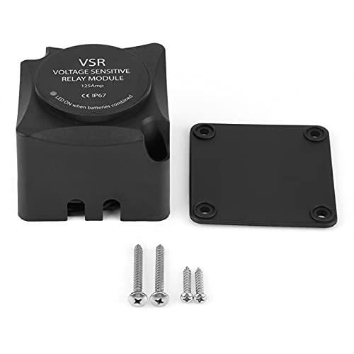 Relé sensible al voltaje, aislador de batería dual (VSR) de 125 A, con carcasa de nailon reforzado con fibra de vidrio sólido, encienda el vehículo con batería dual,
