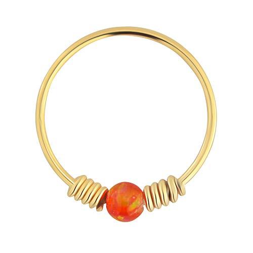 9K Solid Gelb Gold Orange Opal Stein mit doppelten Frühling Spule 22 Gauge Hoop Nase Ring Tragus Helix Piercing