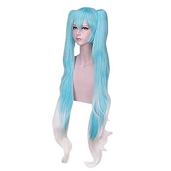 DAZCOS Snow Miku Hatsune Lolita Princess Cosplay Wig 120cm  Blue mix White