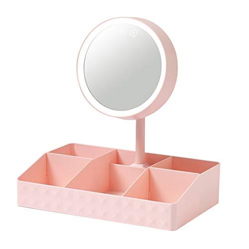 Boîte de rangement cosmétique Boîte de Rangement Miroir De Maquillage Multifonctionnel De avec La Lumière LED Boîte De Rangement Étudiant Coiffeuse Cadeau (Color : Pink, Size : 32 * 20 * 35cm)