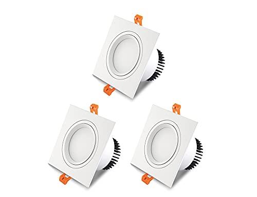 DSYADT 3 パック Led スポット ライト ダウンライト 5W/7W 埋め込み型照明 超薄型スクエア ホワイト Led シーリング ライト CRI 85 缶ライト ストア モール LED ドライバー付き省エネ フラット キッチン ライト