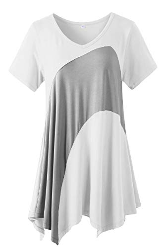 LARACE Tunic Tops for Women Color Block V-neck Flattering Asymmetrical Hemline Long Shirt(White L)