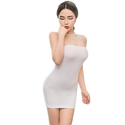 QPYUS Dessous-Sets Sexy Stripe Lace Tight Pencil Niedliches Kleid Glattes Minikleid Porn Transparent Bandage Dress-White_One_Size