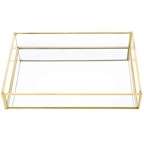 Fdit1 Caja de Almacenamiento de Vidrio de Metal Vintage Bandeja de Oro Joyas cosméticos Cajas de presentación((Talla Mediana))