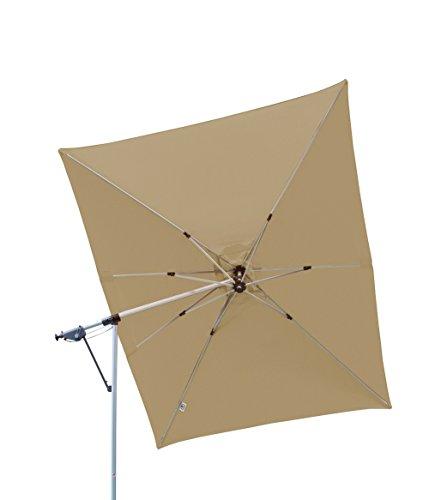 Derby Doppler Hochwertiger Ampelschirm Sun Line Pendel 300 x 220 in Greige - Taupe, schwenkbar, 360 Grad drehbar, UV-Schutz 50 Plus, inklusive Ständer und Schutzhülle
