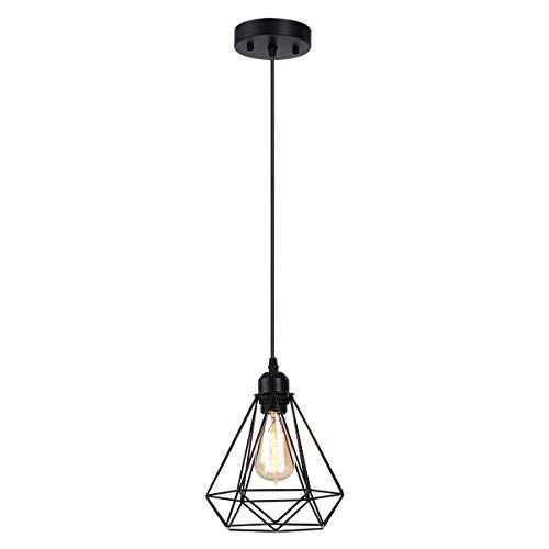 Vintage Pendant Light, HESSION Industrial Metal Cage Mini Pendant Lighting Oil Rubbed Black Finish, Rustic Ceiling Light Fixture