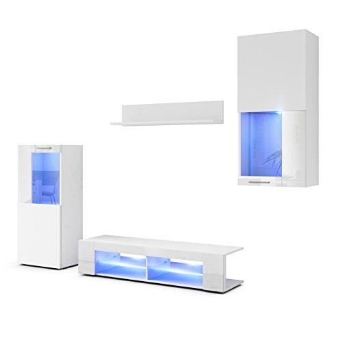 Conjunto de Muebles de Pared Movie, Cuerpo en Blanco Mate/Frentes en Blanco Mate y Blanco de Alto Brillo con iluminación LED en Azul