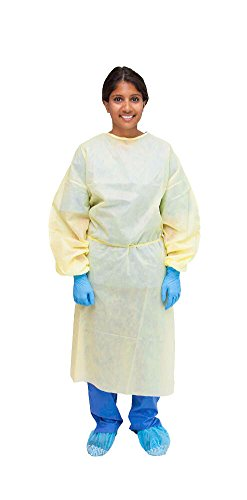 MediChoice Isolation Cover Gown, PSB, Full Back, Elastic Cuff, Tie Neck And Waist, XL, Yellow (Case of 100)