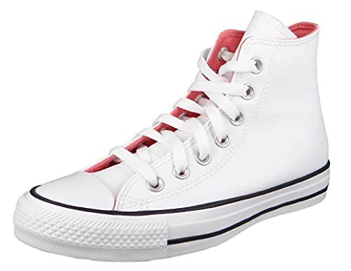 Converse Chuck Taylors All Stars Hi - Camiseta deportiva para mujer, color blanco y rosa, White Pink Salt, 38 EU