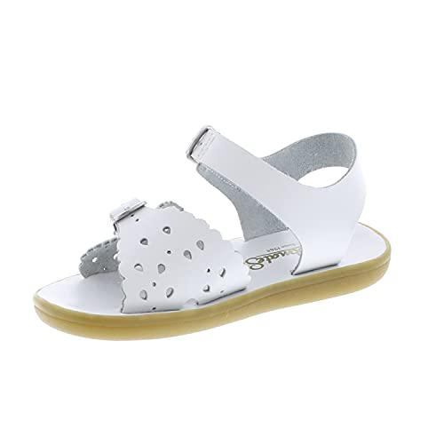FOOTMATES Girls' 1100 Ariel Waterproof Sandals, White - 7 Toddler (1-4 Years)