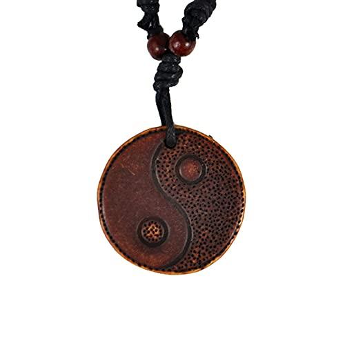 Tai Chi Yin Yang Colgante De Resina Tallada Línea De Cera Collares Amuleto Joyería De Regalo De La Suerte