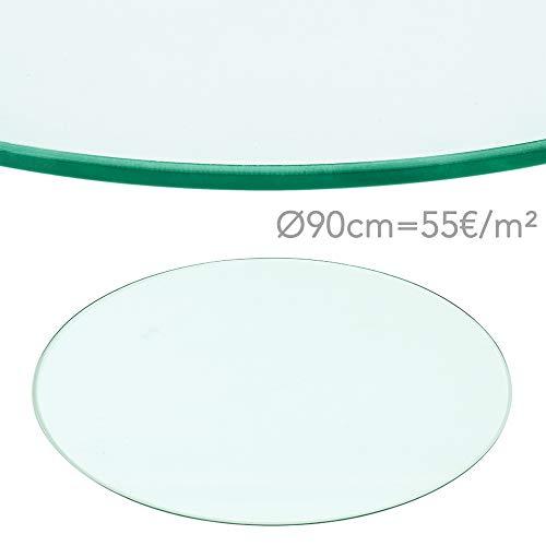 Rapid Teck® 55€/m² Glasplatte Rund Durchm. 900 mm Glastisch Tischplatte aus gehärtetem Glas Tisch Glasscheibe 8mm Dick