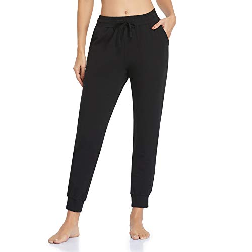 Vimbloom Pantalón Chándal Mujer Pantalones Deportivos Largos Pantalones Jogging Algodón Elastica con Bolsillos para Correr Jogger Casual Fitness VI946 (Negro, M)