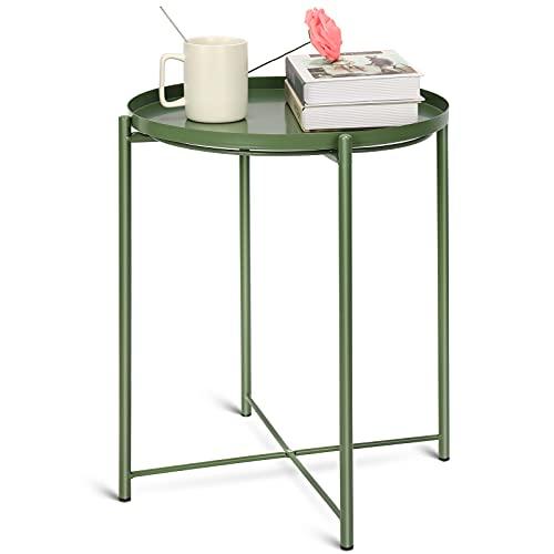 Mesa auxiliar redonda de diseño escandinavo, mesa auxiliar con bandeja extraíble, mesa de café en diseño moderno, mesita de noche con bandeja, para salón, dormitorio, exterior e interior.