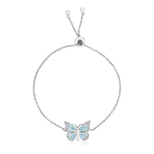 Pulsera ajustable de plata de ley 9 1/4 pulgadas con mariposa esmaltada
