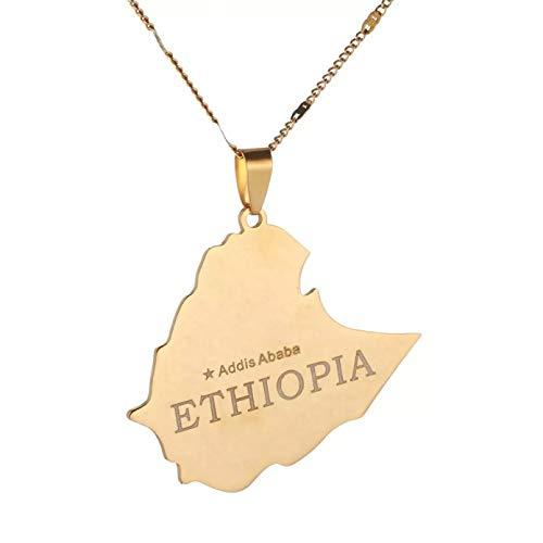 N/A Halskette Anhänger Edelstahl Karte von äthiopischen Anhänger Halskette Halskette Karte Kette Schmuck Muttertag Weihnachten Geburtstagsfeier Geschenk