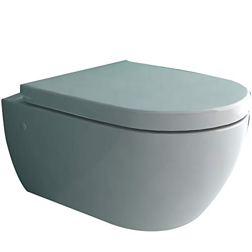 Spülrandlose Hänge-Toilette | Komplett Set inkl. abnehmbaren D-Form WC-Sitz mit Softclose Absenkautomatik und Montageelemente | Tiefspüler WC für beste Hygiene | passend zu GEBERIT