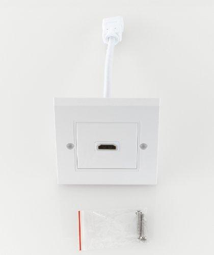 deleyCON HDMI Boîte Prise Murale 1x Port HDMI Flush HDMI Haute Vitesse avec Ethernet 3D Full HD HDTV 4K 2160p
