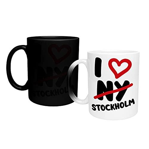 Färgskiftande mugg I Love Stockholm Sweden_TA212 magisk värmebytande kaffemugg – rolig kopp, för kontor och hemmabruk 325 ml