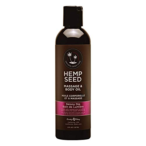 Hemp Seed Massage & Body Oil, Skinny Dip Scent - 8 fl. oz. - Nourishing, Moisturizing Massage Oil - Hemp Seed, Apricot, Grapeseed & Sweet Almond Oil - Vegan & Cruelty Free