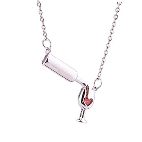 Onsinic Donne del Ciondolo della Bottiglia di Vetro del Vino della Bottiglia di Vino della Collana del Cuore del Cuore della Collana del Cuore del Vino per Ragazza Amante