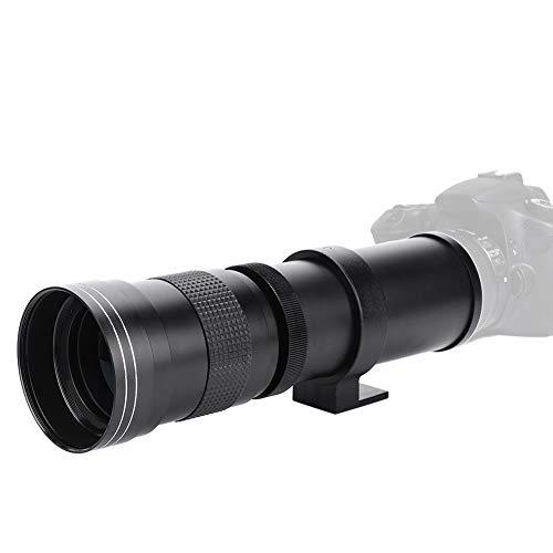 Qiilu Teleobjetivo, 420-800 mm F 8.3-16 Teleobjetivo Zoom Manual Lente Apta para Canon Nikon Sony Pentax DSLR Cámara(for Nikon F Port)