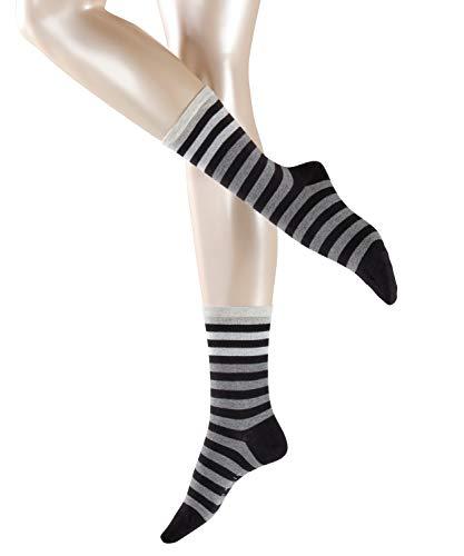 ESPRIT Damen Socken Multicolour Stripe - 80% Baumwolle, 1 Paar, Schwarz (Black 3000), Größe: 39-42