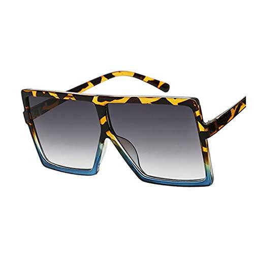Sombras de Gran tamaño Mujeres Gafas de Sol Negro Moda Cuadrada Gafas Grandes Marco Vintage Retro Vidrios Femenino Unisex Oculos Feminino (Lenses Color : Leopard Blue)