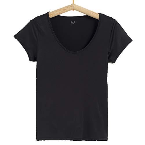 TEX - Camiseta de Deporte Manga Corta para Mujer, Negro Neutro, L