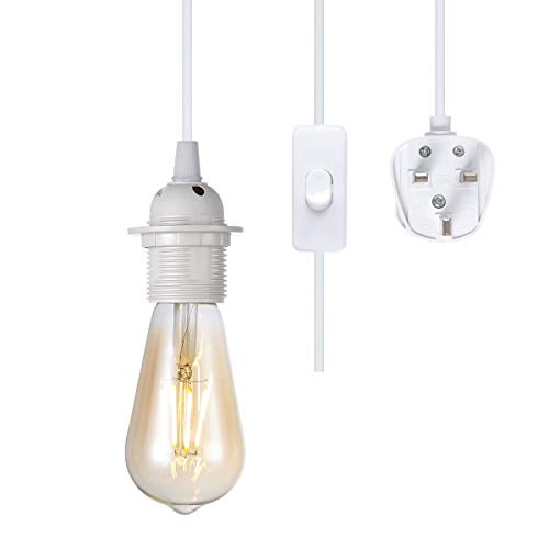 4.5m Plug in Pendant Light Fitting,White Hanging Lights kit Fitting, E27 lamp Holder,On-Off Switch,Extension for shed, Warehouse, Light Shade