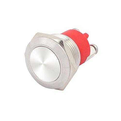 Aexit AC250V 3A 19mm Flach Kappe Metall Momentan Drucktaste Schalter Schraube Klemmen